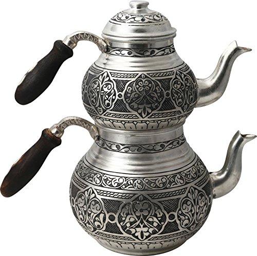 (Handcrafted Copper Turkish Tea Pot Set, Tea Maker, Samovar, Ottoman Antique Handmade Tea Pot Kettle, Traditional Turkish Black Tea Maker-(TP-107) )