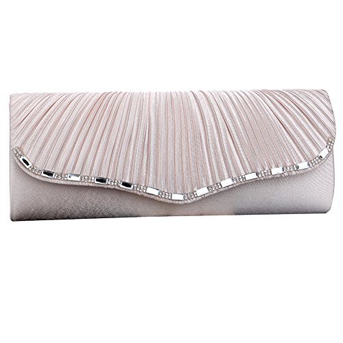 Crystal Womens Envelope Clutch Designer Pleated Diamante Beige Party Bag Silk Evening UNYU Bag Prom 5gqFF