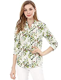 Allegra K Women's Stand Collar Roll Up Sleeve High-Low Hem Floral Shirt
