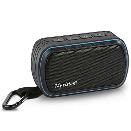Bluetooth Speaker, IPX7 Water Resistant Myvision Outdoor Portable Stereo Speaker with HD Sound and Bass,Built-In Mic,Wireless Bluetooth 4.2/Hands free Calling/TF Card Slot(black)