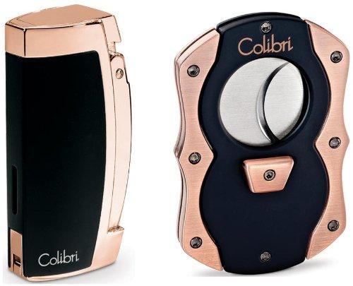 Colibri Enterprise Black & Rose Gold Lighter and Cigar Cutter SeT