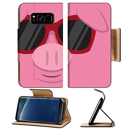 Liili Premium Samsung Galaxy S8 Flip Pu Leather Wallet Case IMAGE ID: 18010975 Cartoon pig head with - Sunglasses With Pig
