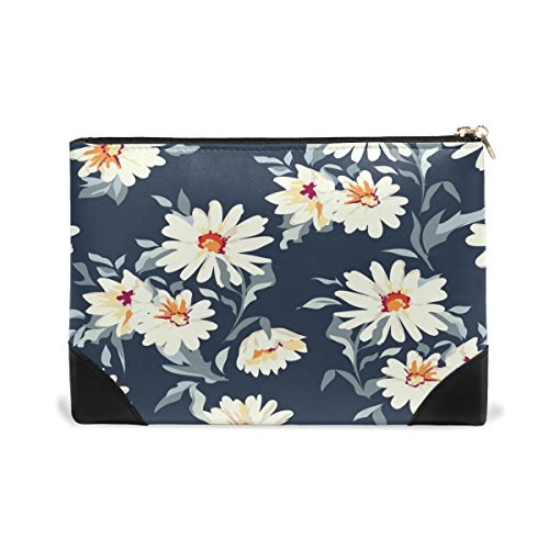 ALAZA Daisy Floral Print Makeup Cosmetic Bag Pouch Travel Bag for Women Girls