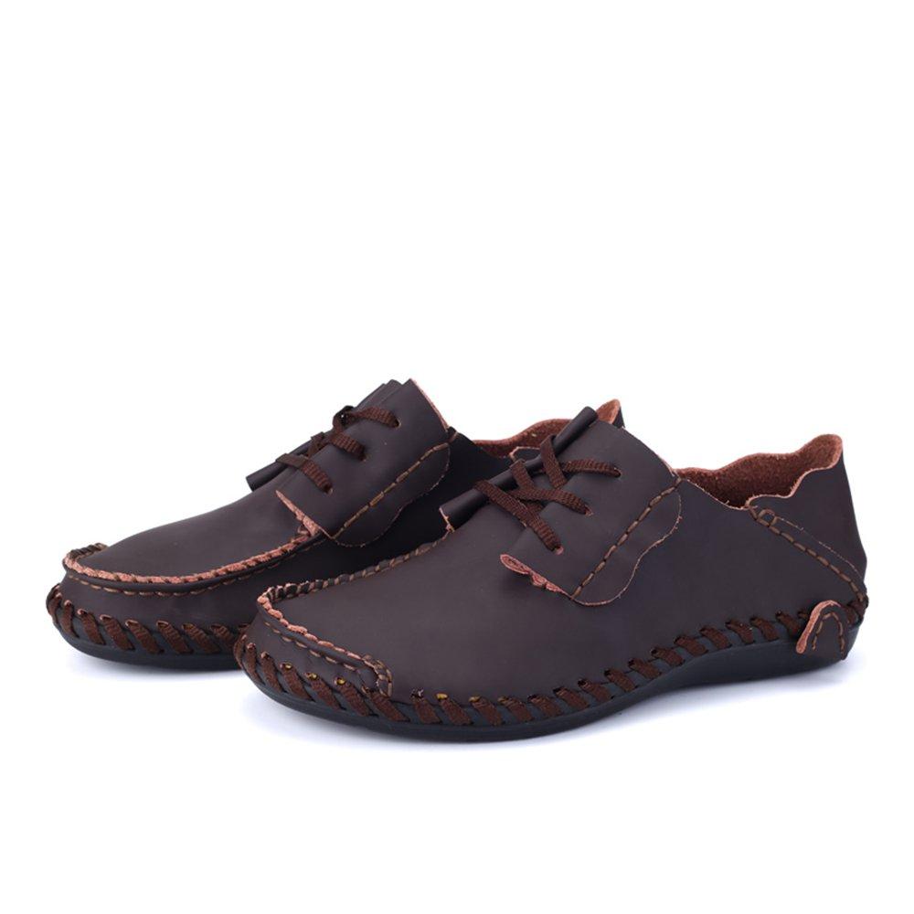 Jiuyue-scarpe, da da da Uomo Caricamento Flat Heel Lace Up Solid Colore Design Unico Scarpe per Feste, Eventi Formali Casual o Anche, Microfibra, Marrone, 8 685969