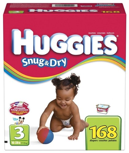 Huggies Snug & Dry Diapers, Size 3, 168-Count