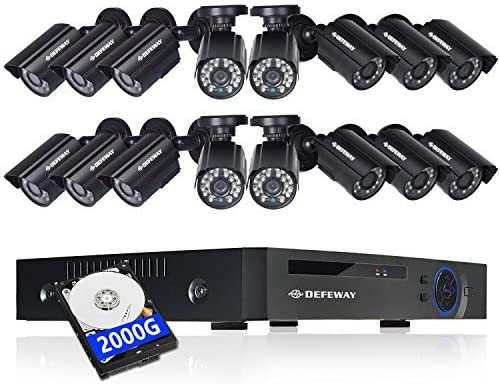 DEFEWAY 16 Channel Security Camera System,1080P Lite 16CH Surveillance DVR Recorder System