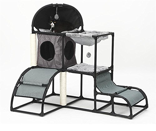 Home Oak Design Single (Dbtxwd Cat Scratching Post Luxury combination frame Multifunction Detachable Oxford cloth Cat Tree Activity Toy Pet Kitten nest Tower Climbing Bed 107cm80cm120cm , 3)