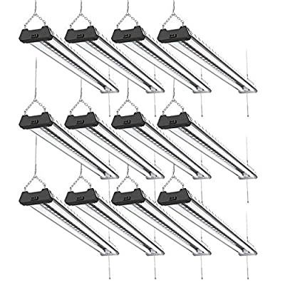 Sunco Lighting 12 Pack LED Industrial Utility Shop Light, 4 FT, 40W=300W, 5000K Daylight, Frosted T8 LED Tubes, Linkable Integrated LED Pendant Fixture, Mounting Equipment Included - Energy Star