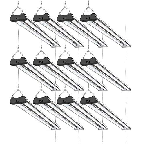 Light 12 Suspension - Sunco Lighting 12 Pack Industrial LED Shop Light, 4 FT, Linkable Integrated Fixture, 40W=260W, 5000K Daylight, 4000 LM, Surface + Suspension Mount, Pull Chain, Utility Light, Garage- Energy Star