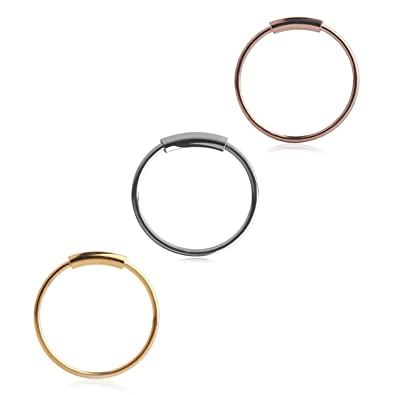 Pair Of 10mm Black Plated 316L Surgical Steel 20g Seamless Ear Nose Hoop Ring