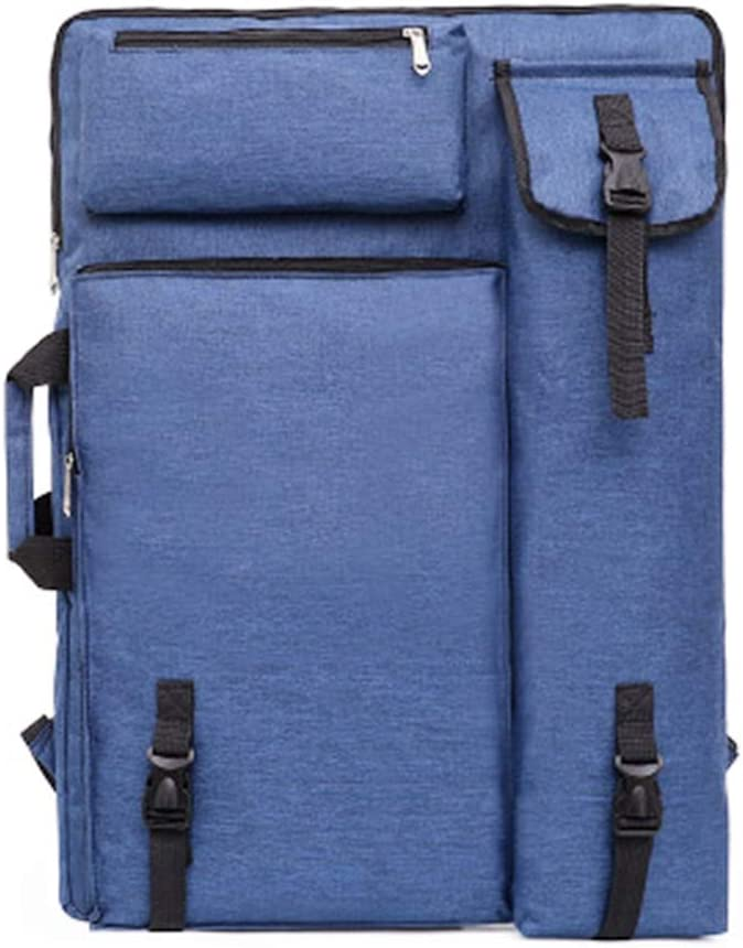 Blue Artist Bag Canvas Artist Portfolio Case Carry Backpack Colorized Sketch Board for Art Supplies Storage and Traveling Size 24x18