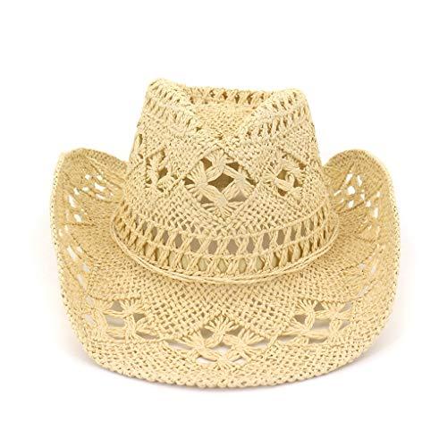 Panama Hat for Men- Summer Beach Sun Hat- Straw Cowboy Hat- Hand- Woven Unisex Hat Lovers Sun Visor Caps Beige