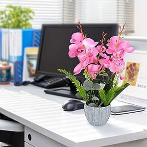 YOBANSA Big Size Orchid Bonsai Artificial Flowers with Imitation Porcelain Flower Pots Phalaenopsis Fake Flowers Arrangements for Home Decoration (Rose Red) 5