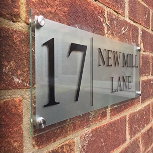 Fuli Custom-Made Modern House/Hotel Street Frosted Sign Plaque Door Number Glass Effect Acrylic (400/140mm Plaque)