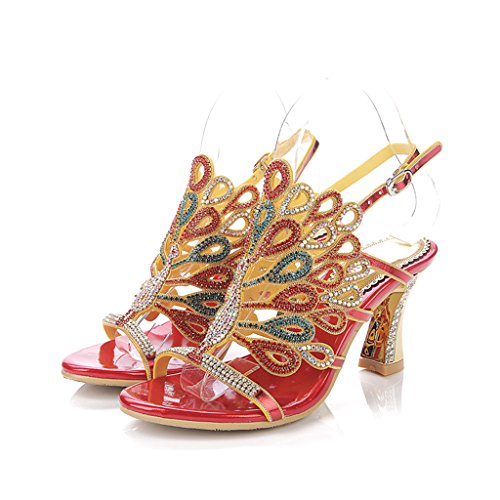Women's Summer Rhinestone Fashion Red Wedding Floral Heels Dress Peacock Evening Sandals Doris Shoes Glitter Slippers gqd14g