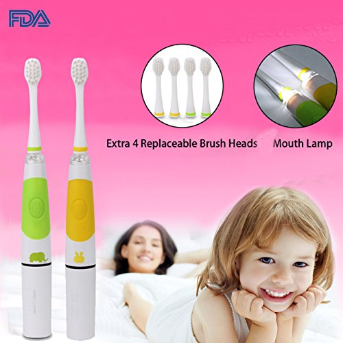 2PCS Children Sonic Electric Toothbrush LED Light Kids Sonic Toothbrush Smart Reminder Baby Toothbrush 618 Toddler Toothbrush with Extra 4 Replaceable Brush Heads for 3-14 Kid (Light Green + Yellow)