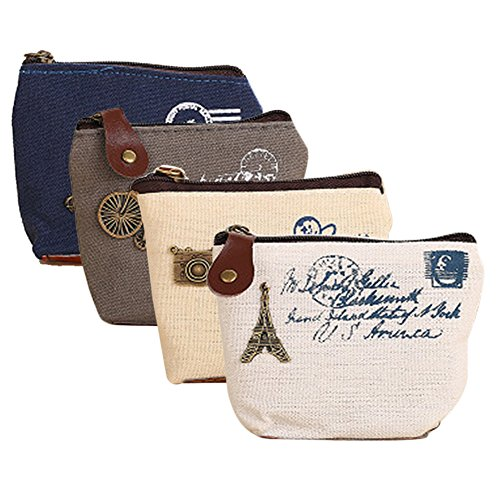 Retro Money Bag Small Cute Coin Purse(Pack of 4) (Pattern 1)