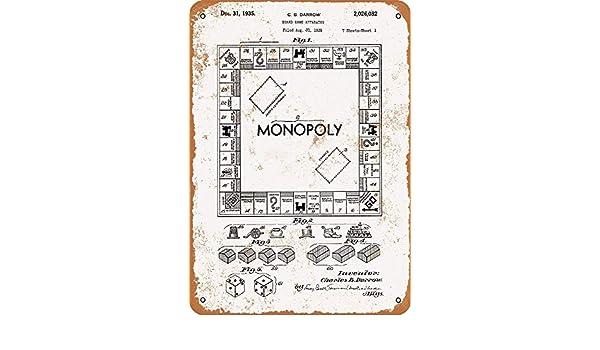 Monopoly Game Patent Póster de Pared Metal Creativo Placa Decorativa Cartel de Chapa Placas Vintage Decoración Pared Arte Muestra para Bar Club Café: Amazon.es: Hogar