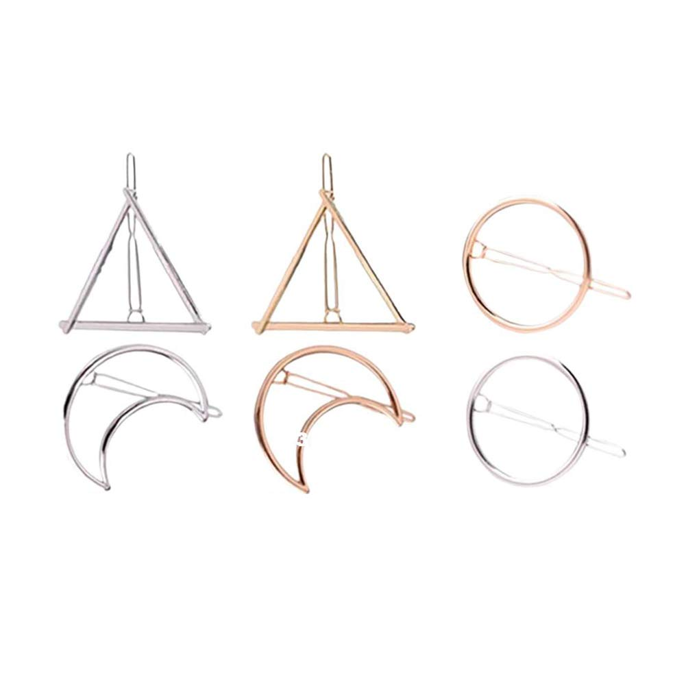 DierCosy 6pcs/set of hollow geometric metal hairpin clips, round, triangle, moon hairpin BeautyMisc
