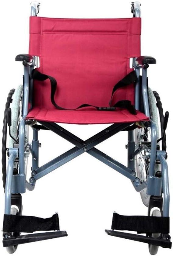 Sillas de ruedas Aluminio silla de ruedas silla de ruedas plegable de peso ligero con Pneumatic Tire, Estructura de soporte for doble Cruz, Rojo, Apto for personas mayores y las personas necesitadas R