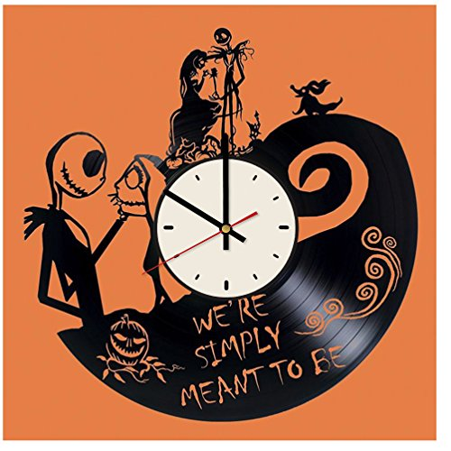 The Nightmare Before Christmas Halloween Town decor vinyl record wall clock artwork gift idea for birthday, christmas, women, men, friends, girlfriend boyfriend and teens - living kids room nursery (Art Halloween)