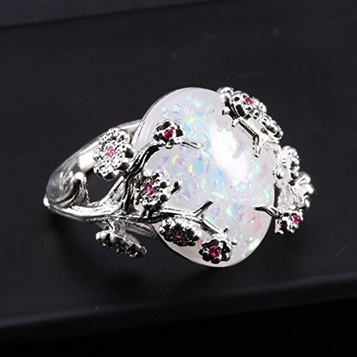 (Ring,soAR9opeoF Women Fashion Oval Faux Opal Plum Blossom Flower Vine Finger Ring Jewelry Gift - White US 8)