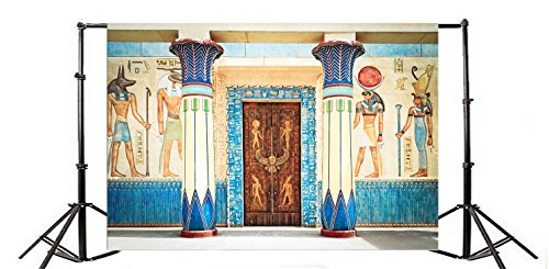(Yeele 8x6ft Ancient Egyptian Fresco Photography Backdrop Vinyl Shrines Mural Religion Totems Stone Wall Painting Photo Background History Culture Heritage Relic for Photo Video Shoot Studio Props)