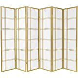 Oriental Furniture 6 ft. Tall Double Cross Shoji Screen - Special Edition - Gold - 6 Panels
