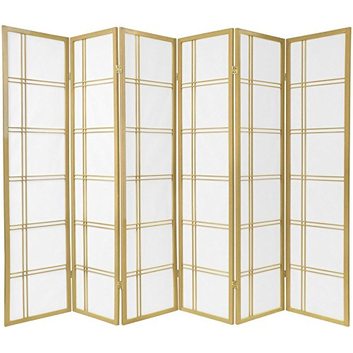 Oriental Furniture 6 ft. Tall Double Cross Shoji Screen - Special Edition - Gold - 6 Panels by ORIENTAL FURNITURE