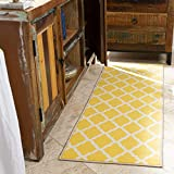 "Ottomanson Glamour Collection Contemporary Moroccan Trellis Design Lattice Runner Rug (Non-Slip) Kitchen and Bathroom Mat, 20"" X 59"", Yellow"