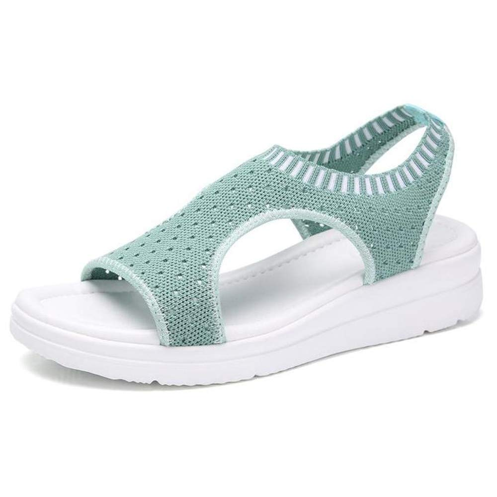 Sara Love Womens Ladies Platform Sandals Wedges Open Toe Fish Mouth Summer Beach Casual Flip Flops Elastic T-Strap Flat Light Green