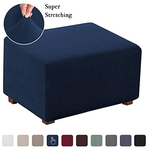 Flamingo P Spandex Elastic Rectangle Footstool Sofa Cover Stretch Storage Ottoman Slipcover for Living Room (Oversized, Navy)