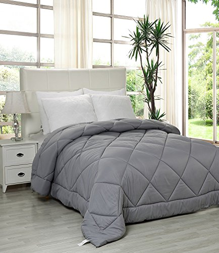 Utopia Bedding Queen Comforter Duvet Insert Grey - Quilted Comforter with Corner Tabs - Plush Siliconized Fiberfill, Box Stitched Down Alternative Comforter, Machine Washable