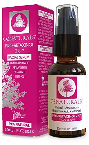 51B0QP9HVQL - OZNaturals Anti Aging Retinol Serum: Pro-Retaxinol 2.5% Anti Wrinkle Serum for Face with Astaxanthin, Hyaluronic Acid & Vitamin E - Reduce Wrinkles, Fine Lines, Dark Spots, Acne, Sun Damage - 1 Fl Oz