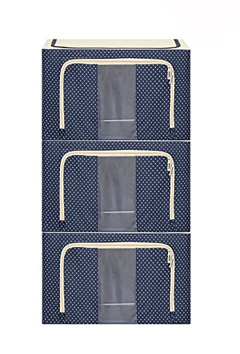 JJMG Stackable Storage Box Polka Dots Oxford Cloth Steel Frame Shelf Quilt Clothing Blanket Pillow Shoe Holder Container Organizer See-Through Window Double Zipper Folding - Dark Blue (3 Pack x ()