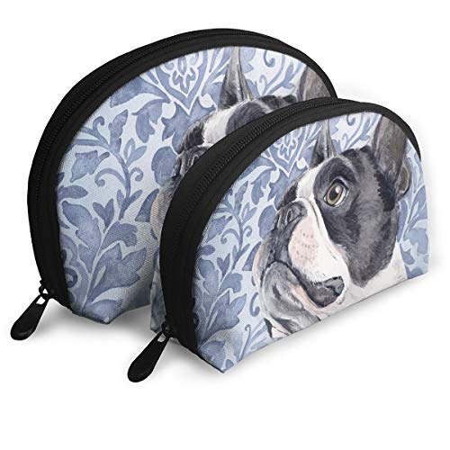 MFILM FVAFN Boston Terrier Makeup Storage Bag, Portable Small Shell Handy Organizer Pouch for Women ()