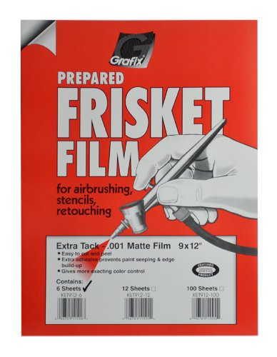Frisket Film Matte - Grafix Extra Tack Frisket Film Sheets 9-Inch-by-12-Inch, Pack of 6