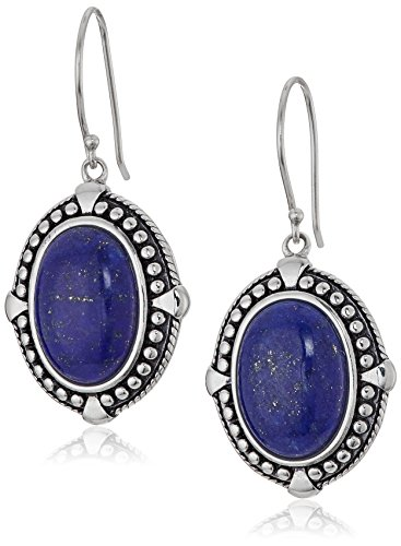 Lapis French Wire Earrings (Sterling Silver Lapis Vintage Frame Cage-back Detail Drop Earrings)