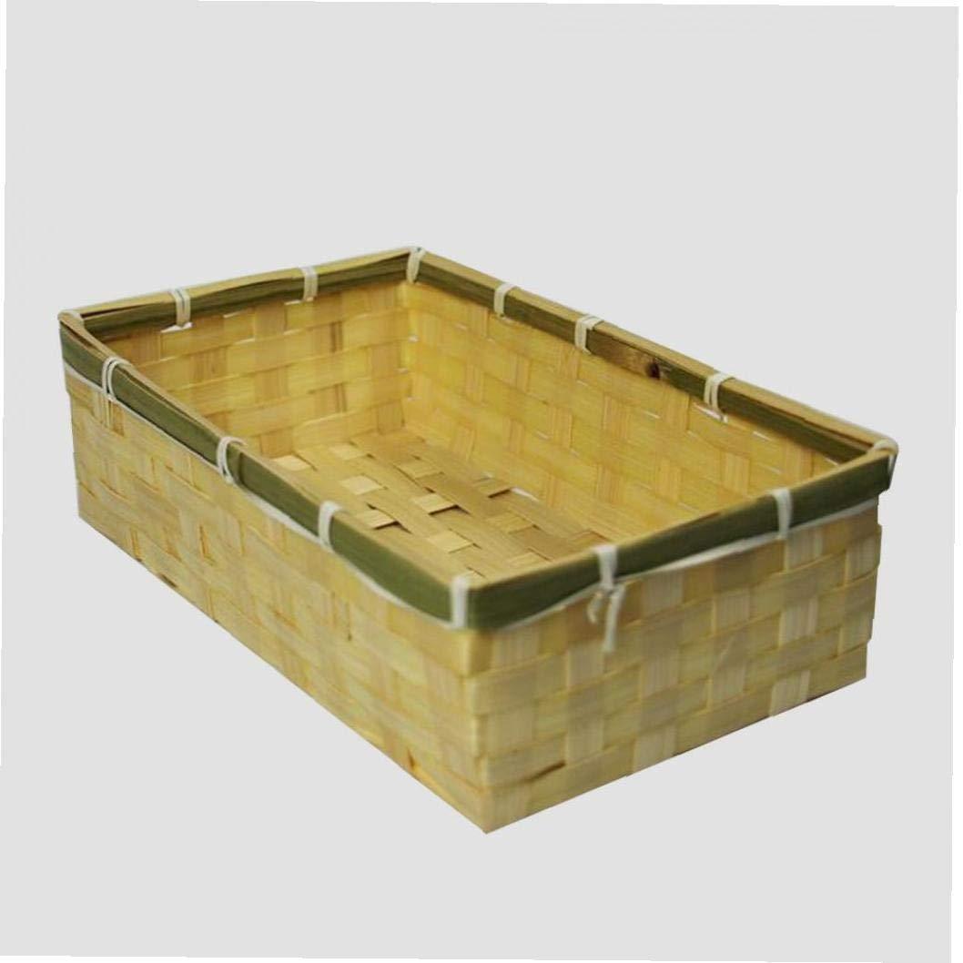 Iaywayii Cestas De Bamb/ú Rectangular Peque/ña Cesta Tejida Cubo De Almacenamiento Cesta Creativo Pan Expositores Cestas Cocina Privada con 40 Cm 1 Pieza