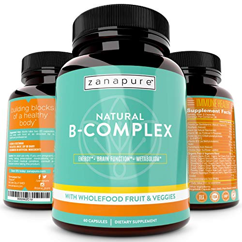 ZANAPURE Natural Whole Food Vitamin B Complex, All B Vitamins Including B12, Folic Acid, Biotin- Best Natural Supplement for Stress, Energy, Immunity w/ 800 milligrams Organic Fruits and Vegetables