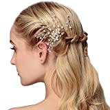 Wedding fashion headwear accessories pearl leaves hair styling comb A pair