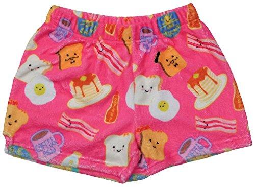 iscream Big Girls Silky Soft Print Plush Shorts - Breakfast Club, Large by iscream
