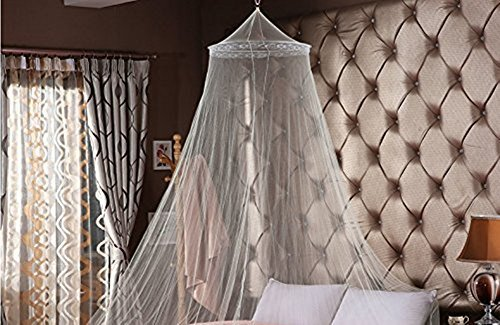 DmsBanga Lace Mosquito Net for Bed Large Screen Netting Canopy Circular Curtain Nursery Guard Hanging Kit For Baby Home Outdoor + 12 Pcs 3D Butterfly Wall Stickers Art Decorations As (Hanging Lace)