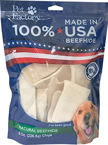 - Pet Factory 78138 Beefhide Dog Chews, 99% Digestible Rawhide Treats, 100% Natural Rawhide Chips, 8 oz Resealable Package, Made in USA