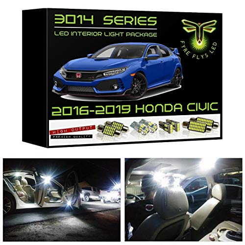 - Fyre Flys 6 Piece White LED Interior Lights for 2016-2019 Honda Civic Super Bright 6000K 3014 Series SMD Package Kit and Install Tool