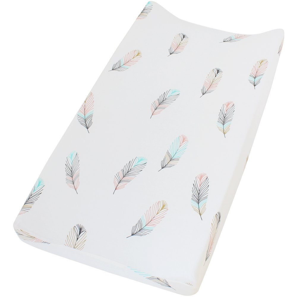 LifeTree Premium Cotton Diaper Changing Pad Cover - Feather Print Cotton Cradle Sheet for Baby Boys or Girls,Fits Standard Contoured Changing Table Pads