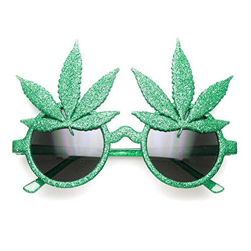 Marijuana Pot Leaf Glitter Novelty - Pot Sunglasses Leaf