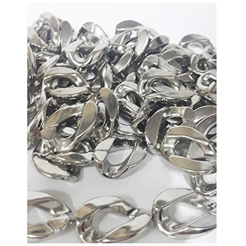 Pearl Fish Cultured Bracelets (40 pcs Acrylic Plastic Chain Link Silver plated For DIY Bracelet Necklace Jewelry Making)