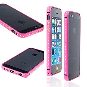 Waterwood Luxurious Diamond Crystal Rhinestone Bling Metal Frame Bumper Case Cover for Iphone5G/S-Rosered