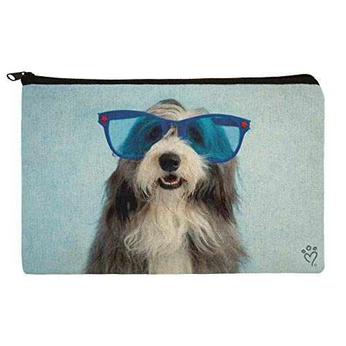 Sheepdog Bearded Collie Dog Giant Blue Sunglasses Makeup Cosmetic Bag Organizer Pouch ()
